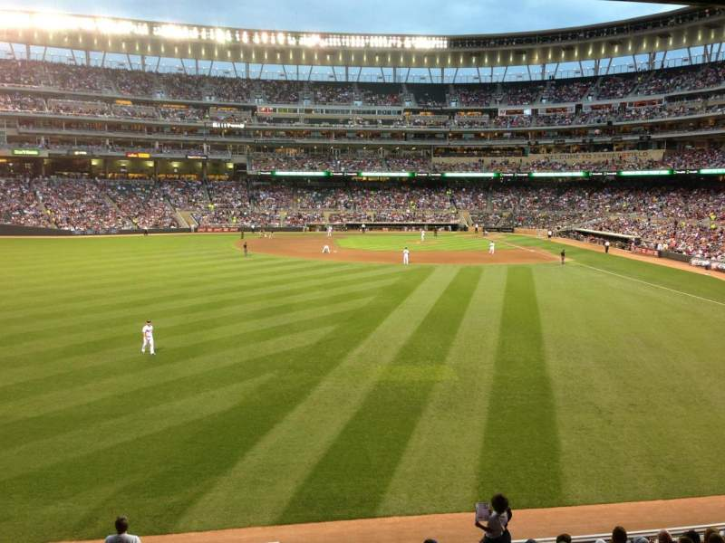 Seating view for Target Field Section 129 Row 12 Seat 6