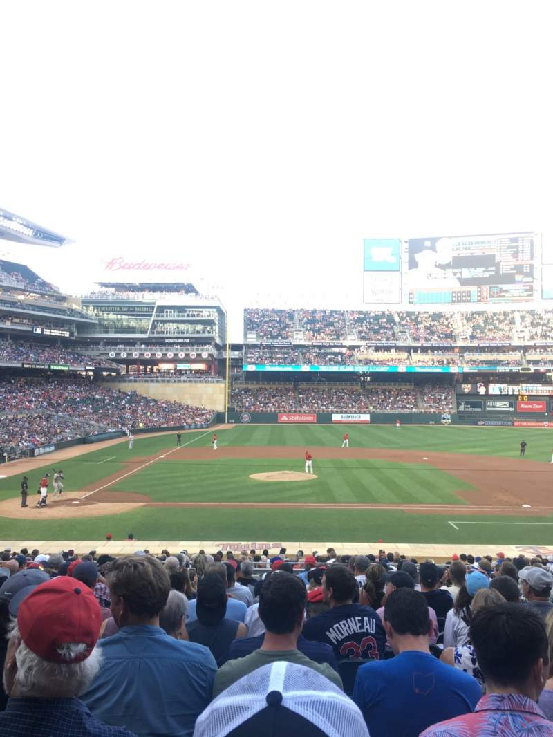 Seating view for Target Field Section 109 Row 13 Seat 15