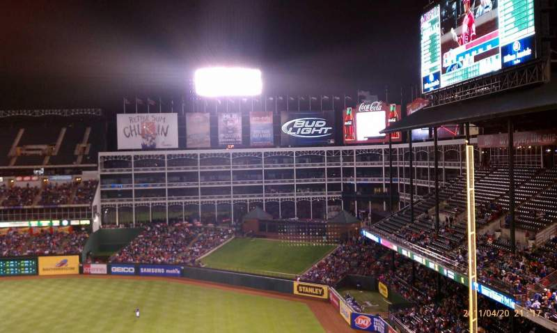 Seating view for Globe Life Park in Arlington Section 339 Row 18 Seat 1