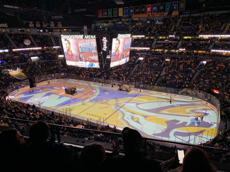 Seating view for Bridgestone Arena Section 328 Row C Seat 1
