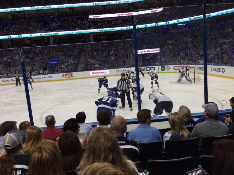 Seating view for Amalie Arena Section 114 Row F Seat 5