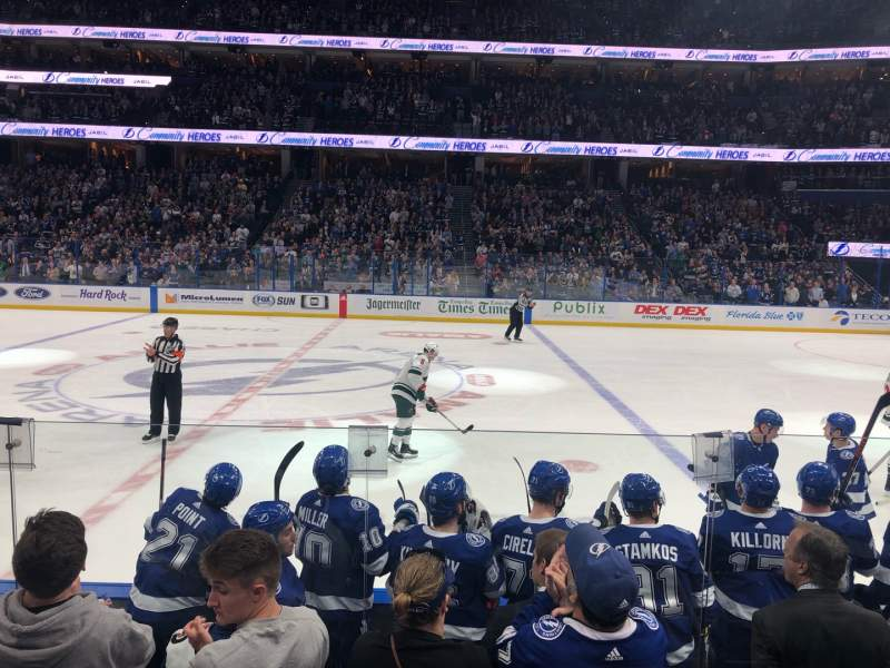 Seating view for Amalie Arena Section 101 Row F Seat 1