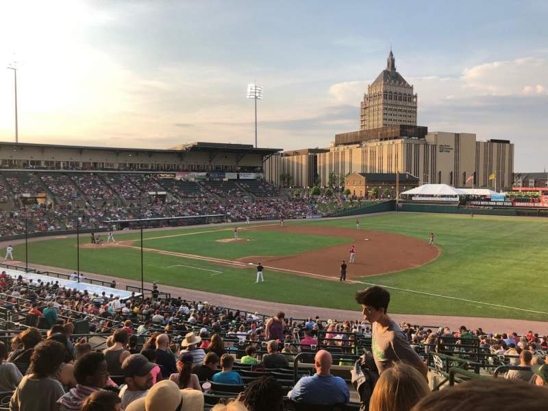 Seating view for Frontier Field Section 203 Row L Seat 10
