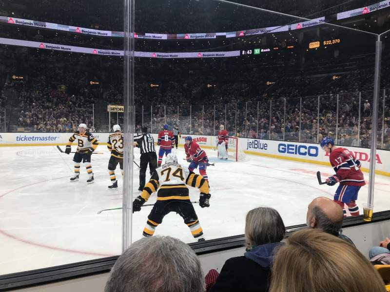 Seating view for TD Garden Section LOGE 20 Row 3 Seat 13