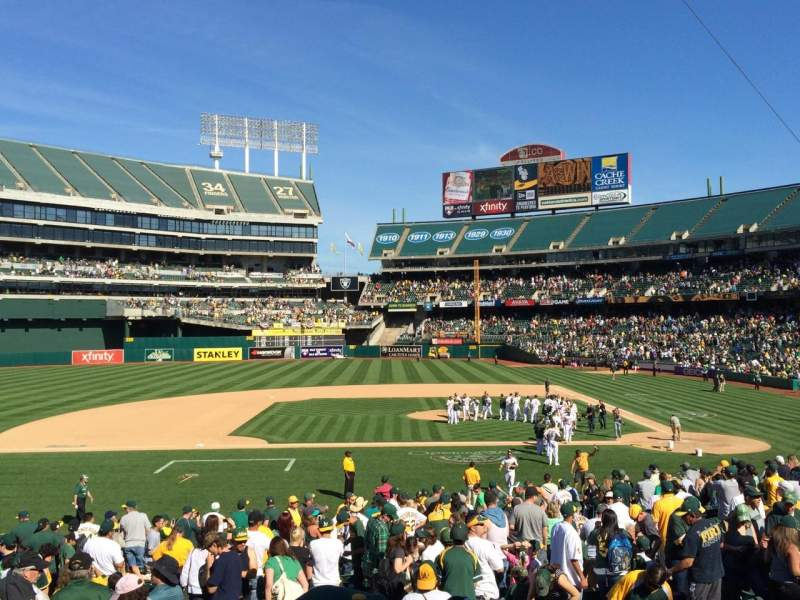 Seating view for Oakland Alameda Coliseum Section 121 Row 26 Seat 1