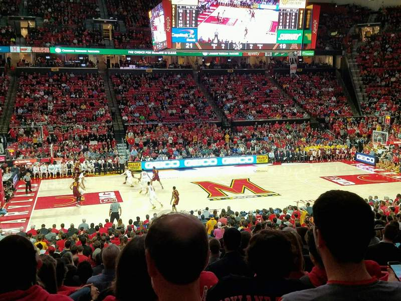 Seating view for Xfinity Center (Maryland) Section 113 Row 15 Seat 10