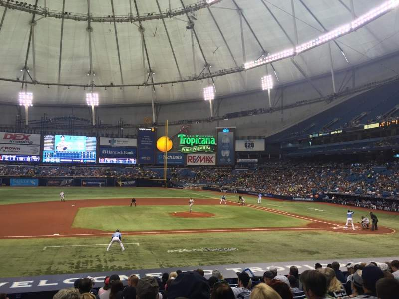 Seating view for Tropicana Field Section 115 Row Y Seat 1