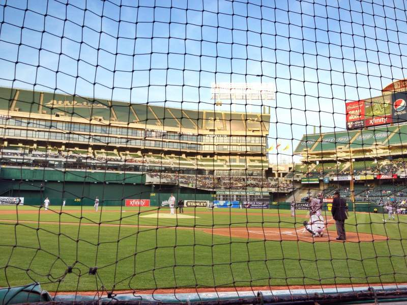 Seating view for Oakland Alameda Coliseum Section Diamond Level Row A Seat 37