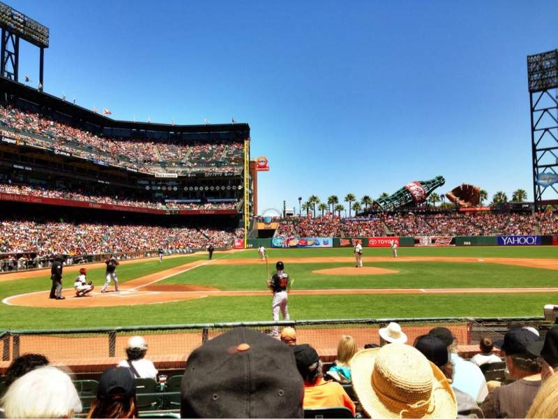 Seating view for AT&T Park Section 110 Row E Seat 4