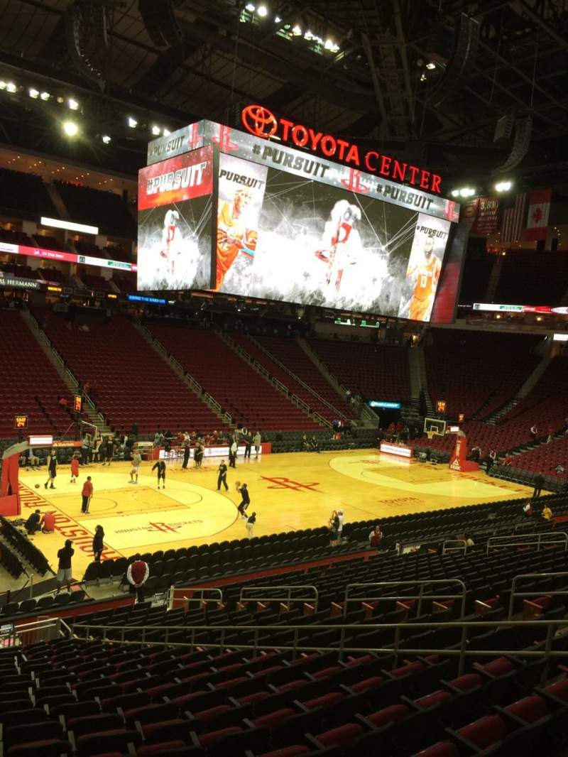 Seating view for Toyota Center Section 110 Row 21 Seat 12