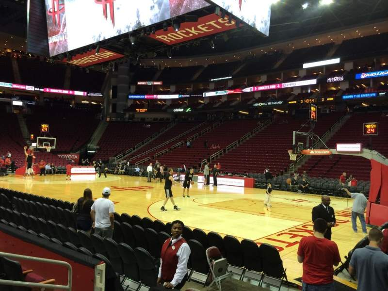 Seating view for Toyota Center Section 104 Row 4 Seat 4