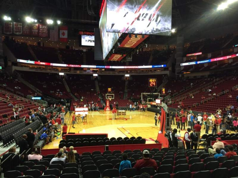 Seating view for Toyota Center Section 114 Row 5 Seat 10