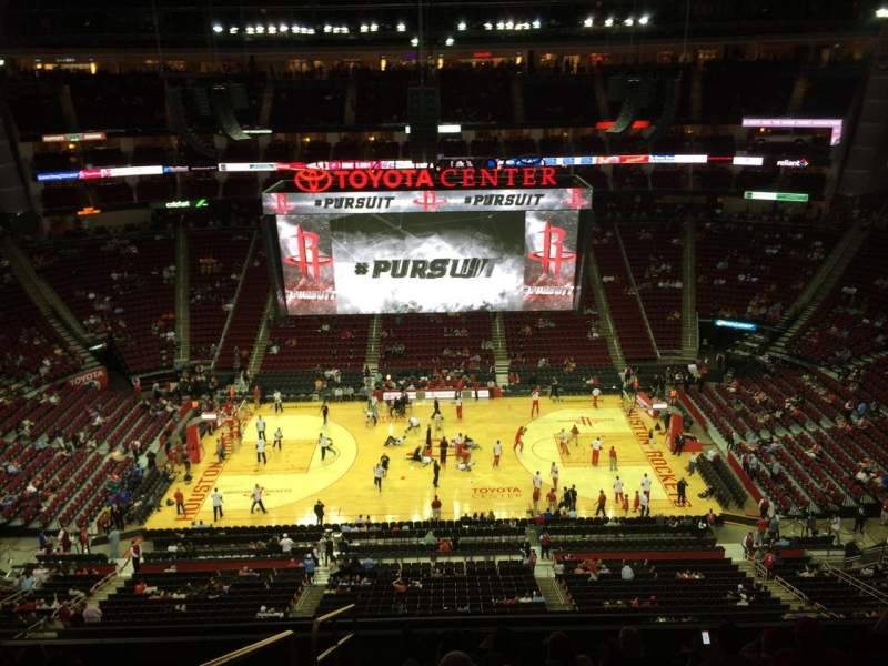 Seating view for Toyota Center Section 409 Row 9 Seat 16