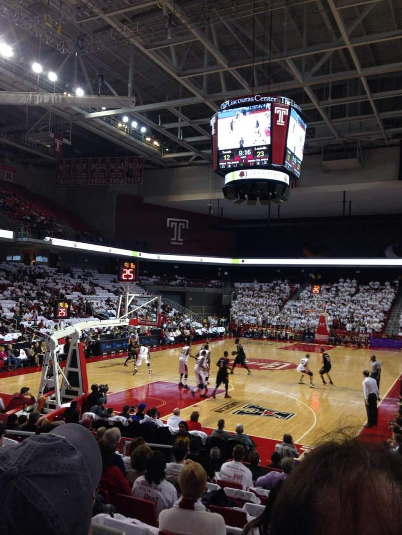 Seating view for Liacouras Center Section 107 Row M Seat 5
