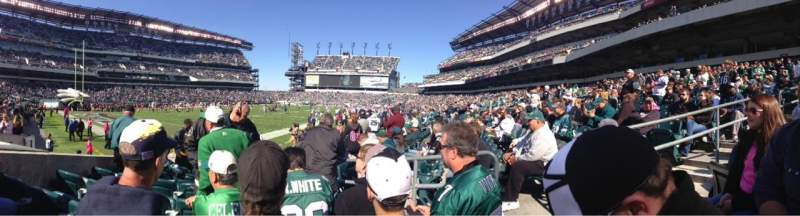 Seating view for Lincoln Financial Field Section 114 Row 7 Seat 4