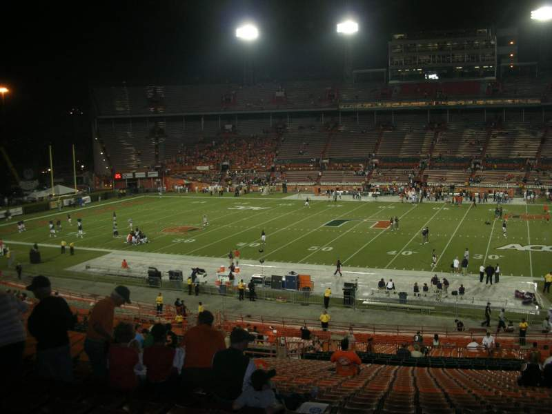 Seating view for Miami Orange Bowl Section E Row 51 Seat 14