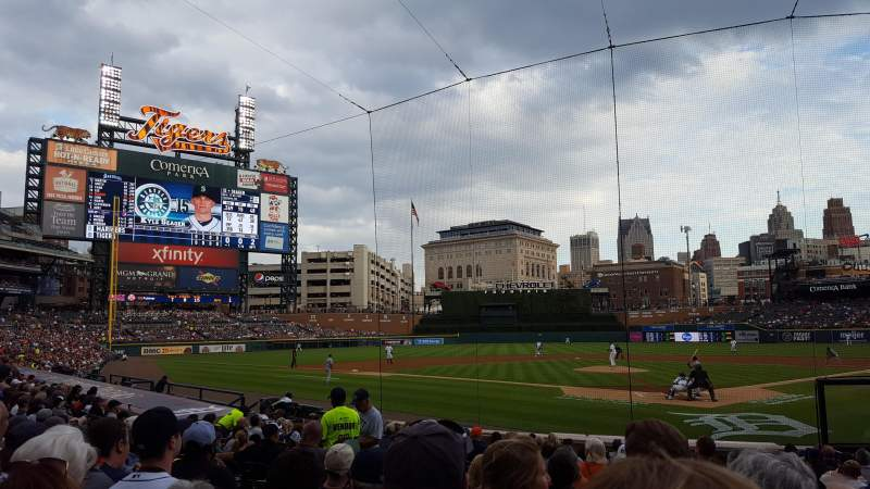 Seating view for Comerica Park Section 129 Row 17 Seat 1