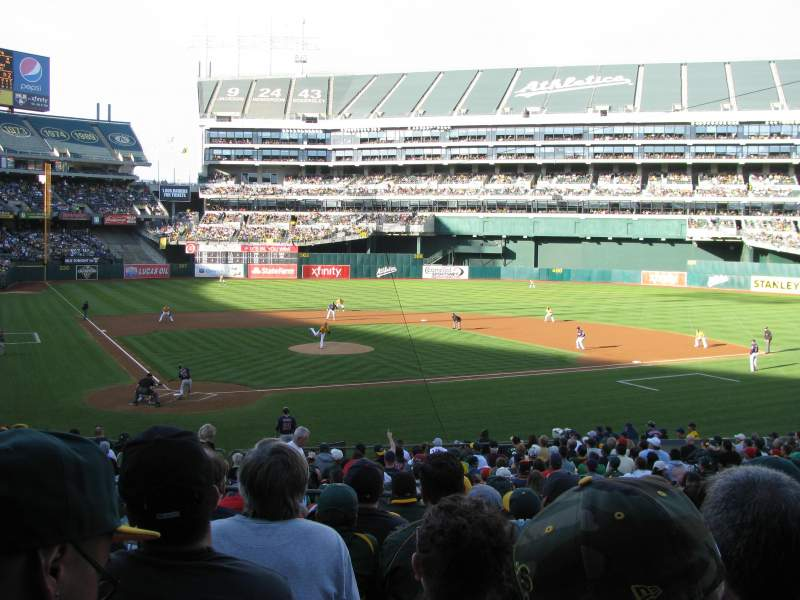 Seating view for Oakland Alameda Coliseum Section 115 Row 28 Seat 9