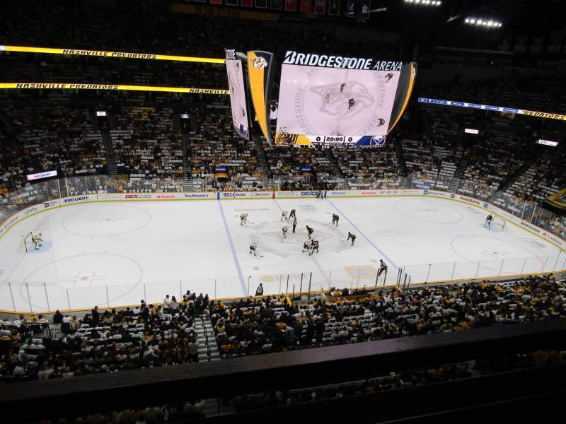Seating view for Bridgestone Arena Section 308 Row A Seat 1
