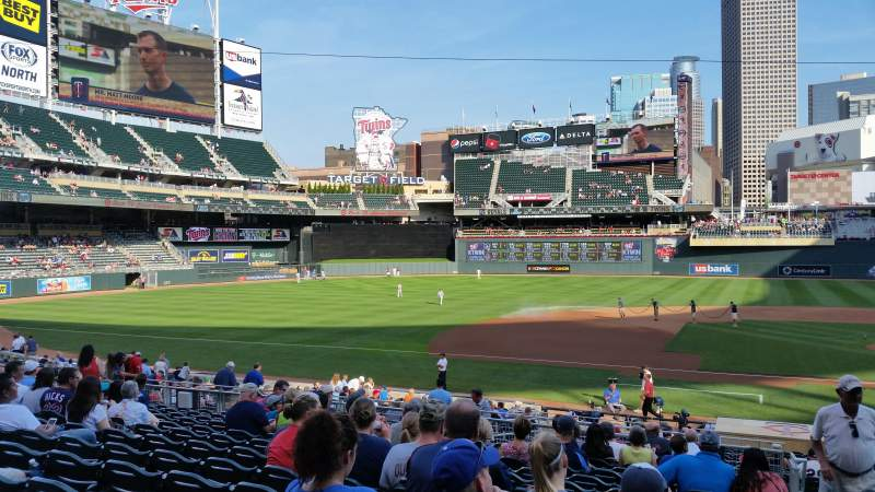 Seating view for Target Field Section 120 Row 13 Seat 1