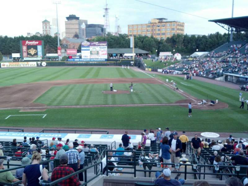 Seating view for Frontier Field Section 221 Row I Seat 8