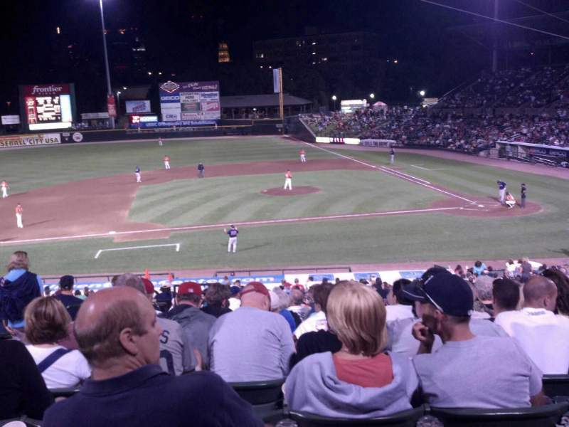 Seating view for Frontier Field Section 222 Row M Seat 7