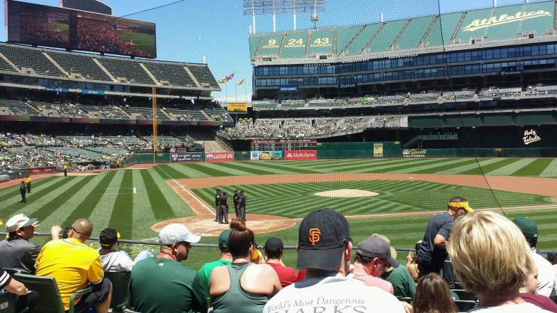 Seating view for Oakland Alameda Coliseum Section 115 Row 19 Seat 13