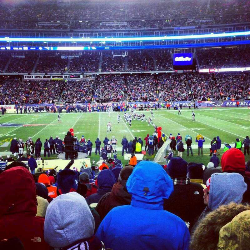 Seating view for Gillette Stadium Section 108 Row 18 Seat 19
