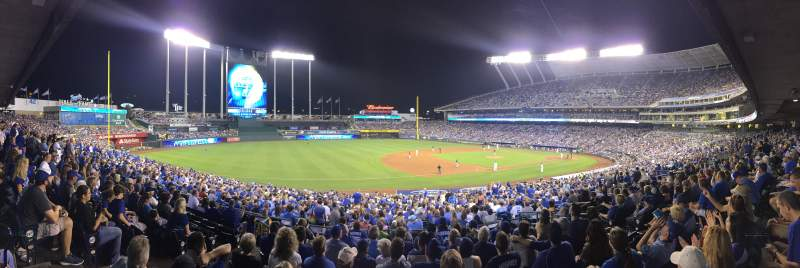 Seating view for Kauffman Stadium Section Dugout Plaza 216 Row HH Seat 5