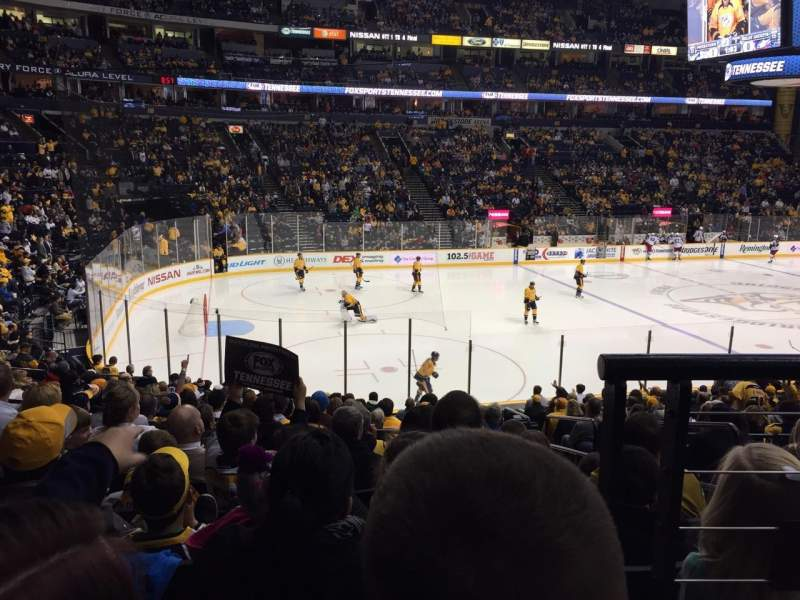 Seating view for Bridgestone Arena Section 103 Row H Seat 1
