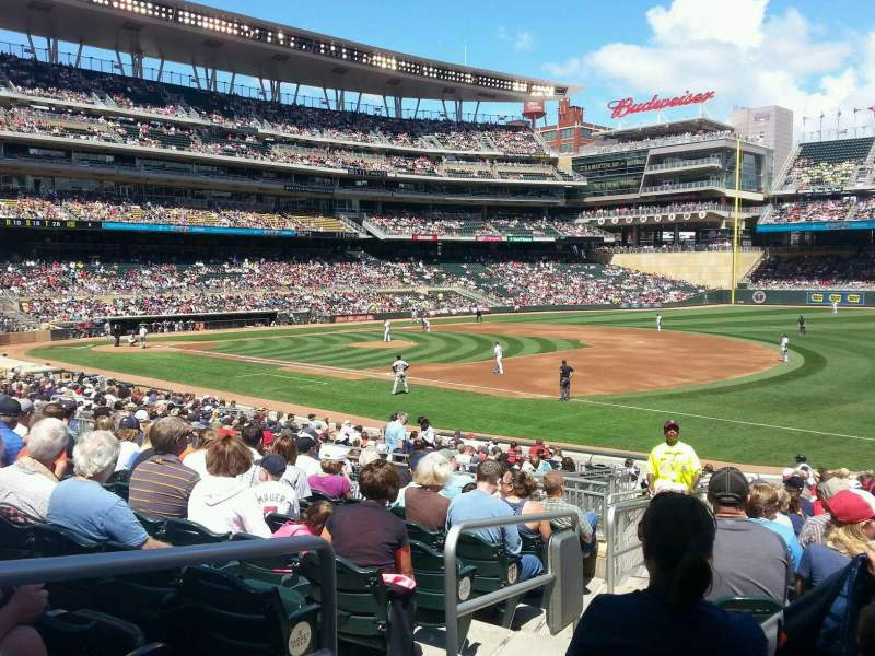 Seating view for Target Field Section 104 Row 26 Seat 19