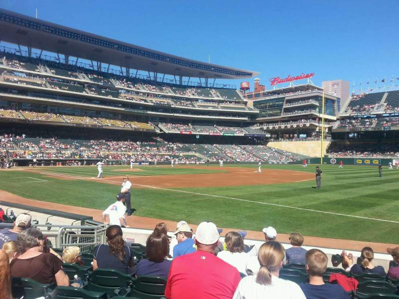 Seating view for Target Field Section 104 Row 8 Seat 8