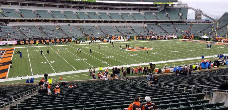 Seating view for Paul Brown Stadium Section 114 Row 27 Seat 13