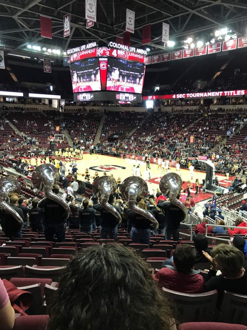 Seating view for Colonial Life Arena Section 112 Row 21 Seat 5