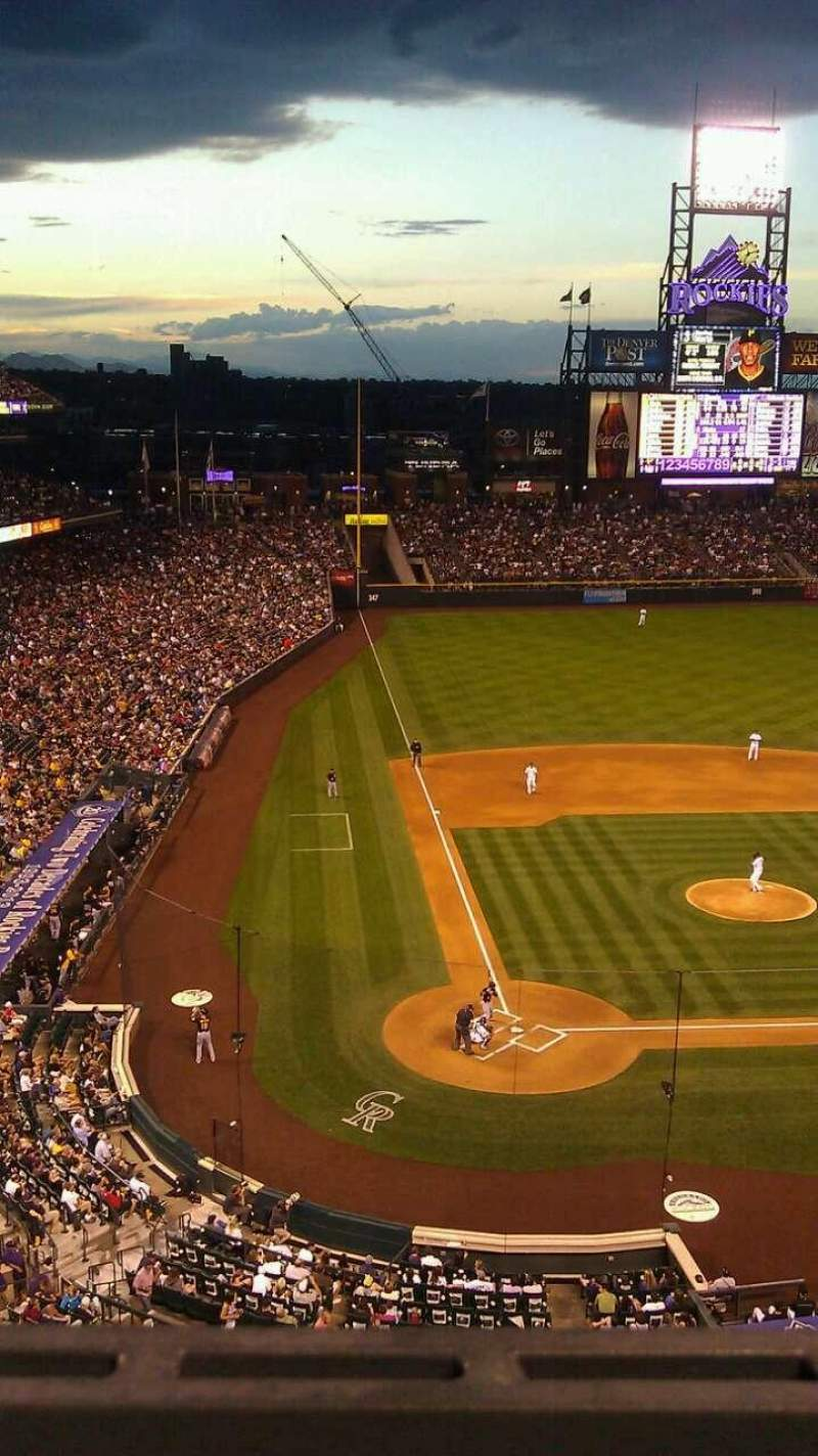 Seating view for Coors Field Section 327 Row 1 Seat 7