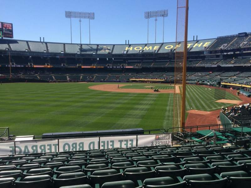 Seating view for Oakland Coliseum Section 134 Row 32 Seat 13