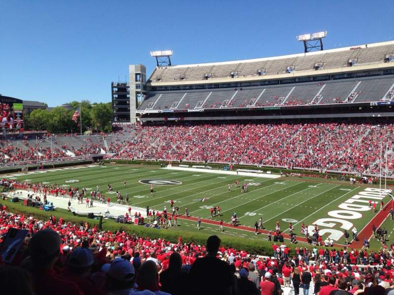 Seating view for Sanford Stadium Section 127 Row 57 Seat 1