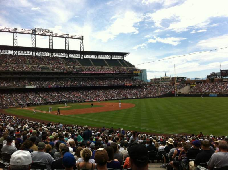 Seating view for Coors Field Section 114 Row 34 Seat 1