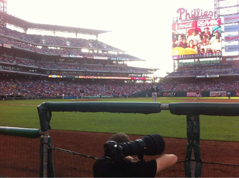 Seating view for Citizens Bank Park Section 115 Row 1 Seat 18