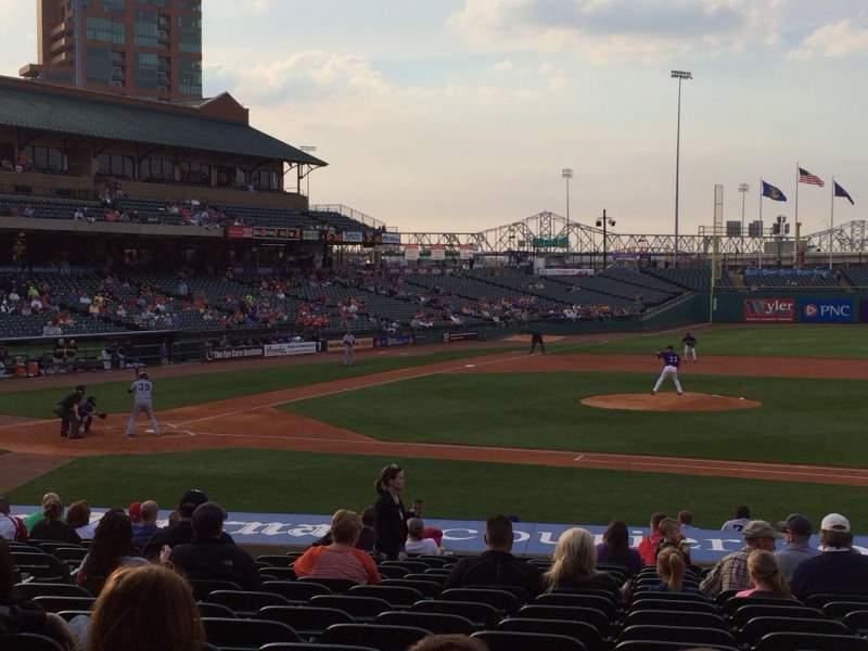 Seating view for Louisville Slugger Field Section 110 Row V Seat 12