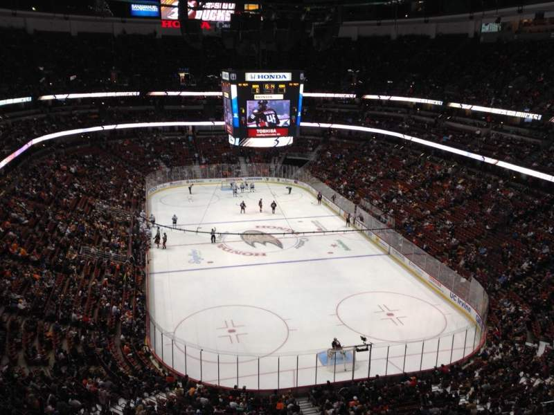 Seating view for Honda Center Section 402 Row J Seat 8