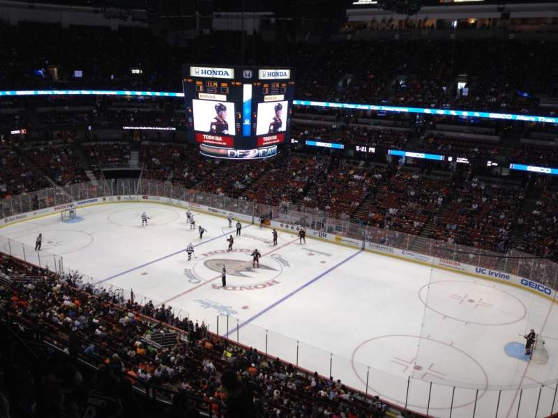 Seating view for Honda Center Section 408 Row H Seat 4