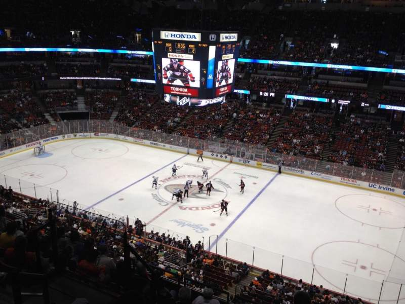Seating view for Honda Center Section 409 Row H Seat 8