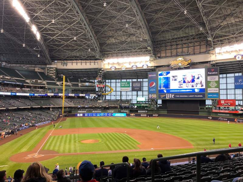 Seating view for Miller Park Section 215 Row 13 Seat 20