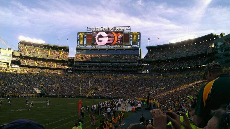 Seating view for Lambeau Field Section 108 Row 8 Seat 11