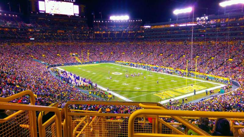Seating view for Lambeau Field Section 307 Row 3 Seat 2