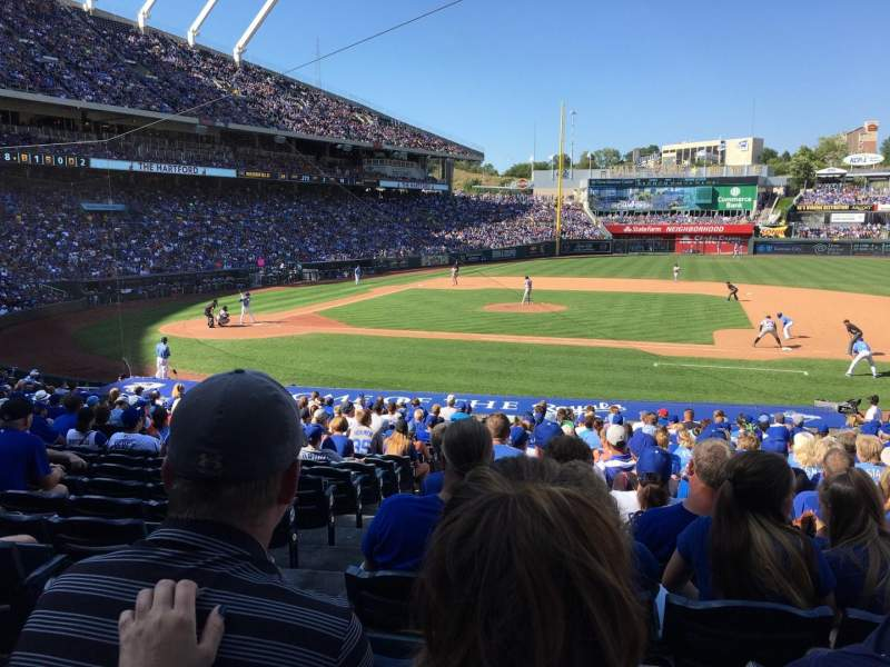 Seating view for Kauffman Stadium Section 135 Row X Seat 1
