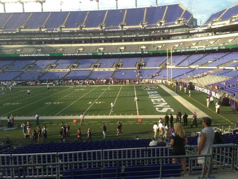 Seating view for M&T Bank Stadium Section 121 Row 23 Seat 4