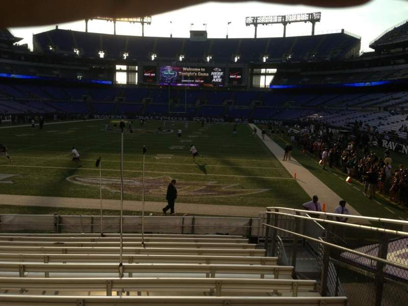 Seating view for M&T Bank Stadium Section 111 Row 14 Seat 5