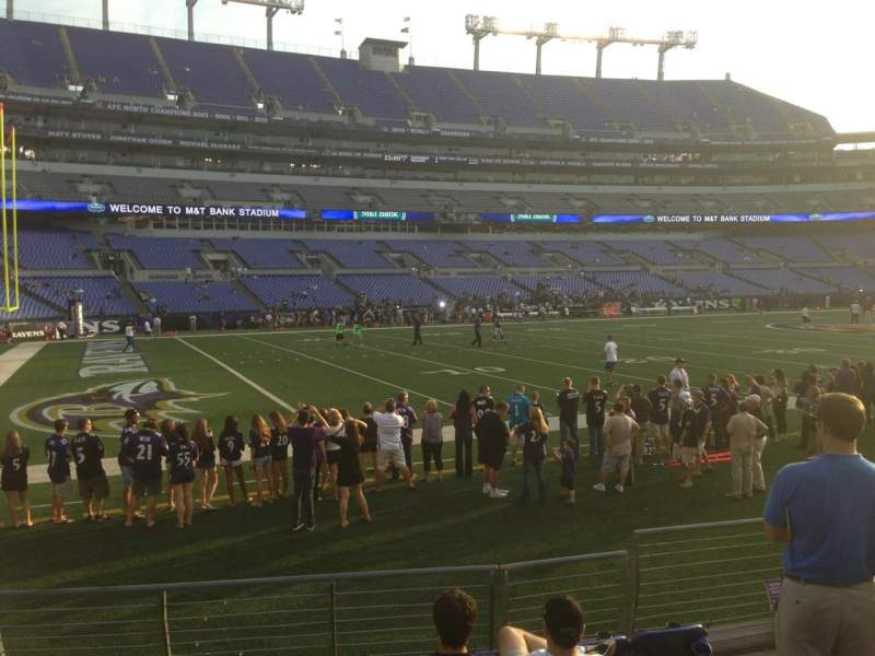 Seating view for M&T Bank Stadium Section 107 Row 7 Seat 6